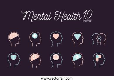 10 Mental health line style icon set vector design