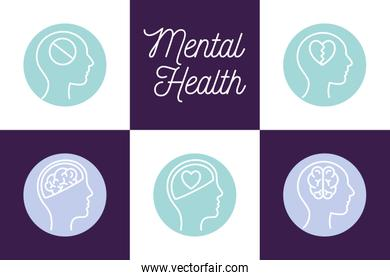 Mental health block style icon set vector design