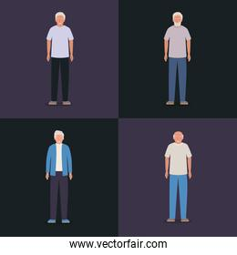Grandfathers avatars old men vector design