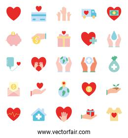 Humanity help flat style icon set vector design
