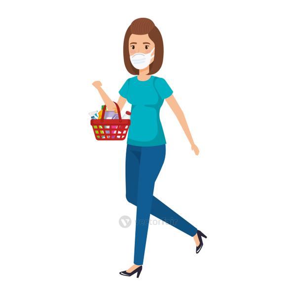 young woman with basket shopping and face mask