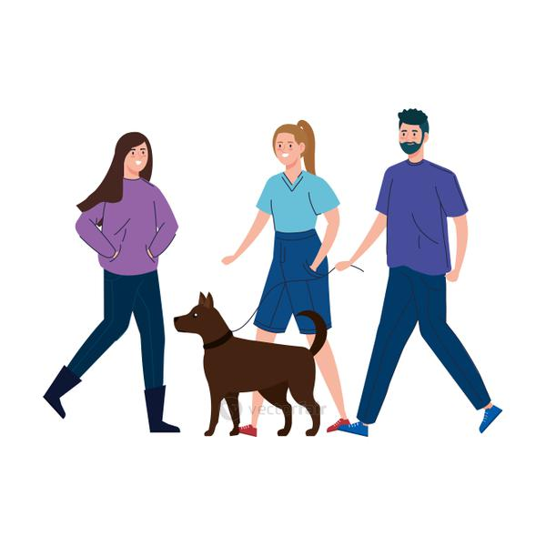 people walking with dog isolated icon