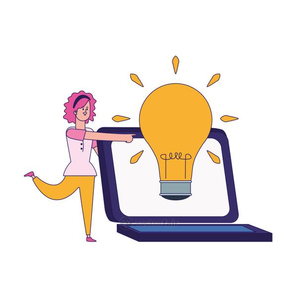 cartoon woman and laptop computer with big bulb light icon, colorful design