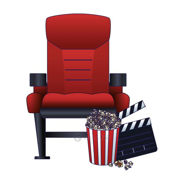 theater chair with pop corn and clapboard, colorful design
