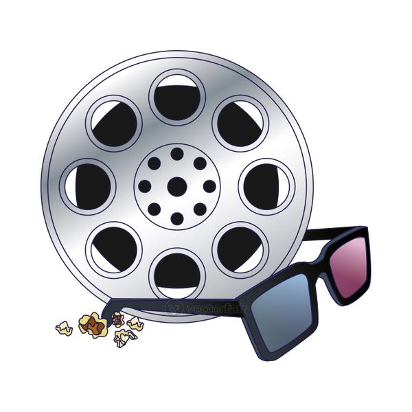 movie reel tape with 3d glasses, colorful design