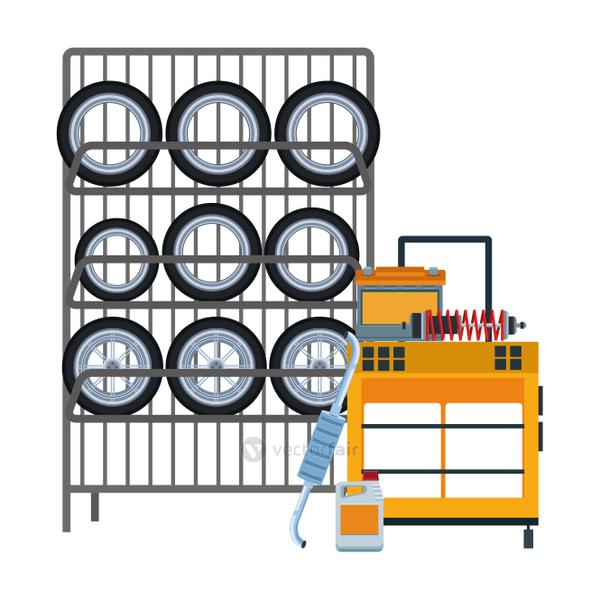 rack with car tires and tools trolley, flat design