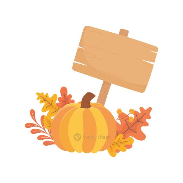 happy thanksgiving day pumpkin wooden sign fall leaves foliage