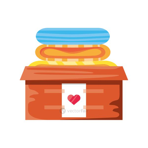 donation box with clothes on white background