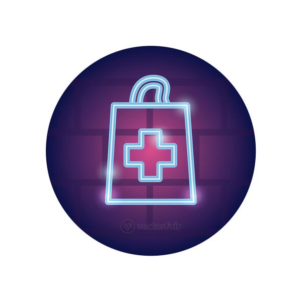 medical shopping bag icon, neon style