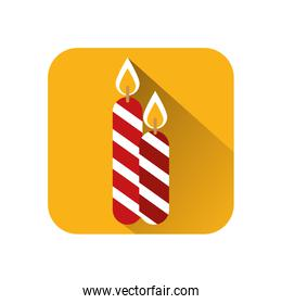 merry christmas candles isolated icon