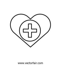 heart love with plus symbol