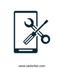 smartphone with screwdriver and wrench repair tools