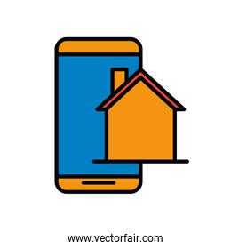 building front facade with smartphone