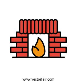 chimney house with flame icon