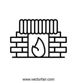 chimney house with flame line style icon
