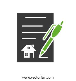 contract rent paper document with pen