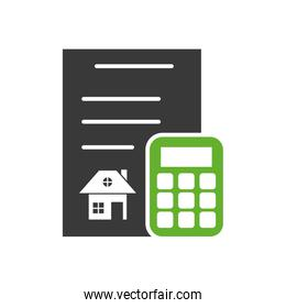 contract rent paper document with calculator