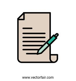 checklist document paper with pen supply