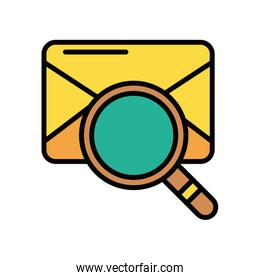 envelope mail with magnifying glass postal service