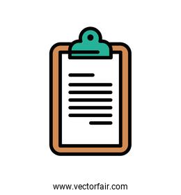 brown and green checklist clipboard document isolated icon