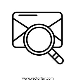 envelope mail with magnifying glass, line style icon