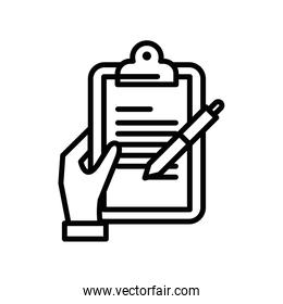 hand with clipboard checklist document