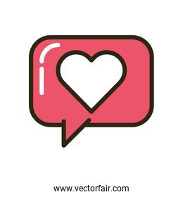 happy valentines day speech bubble with heart icon