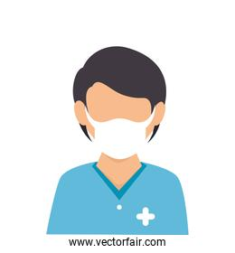 male paramedic with face mask avatar isolated icon