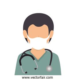 doctor male with face mask avatar isolated icon
