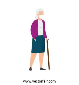 old woman with face mask and walking stick isolated icon