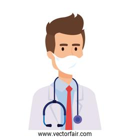 doctor male with face mask isolated icon