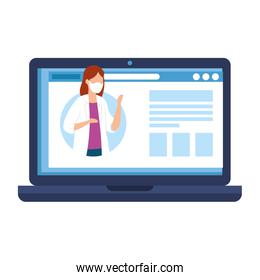 medicine online with doctor female in laptop