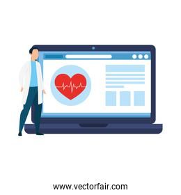 medicine online with doctor male in laptop