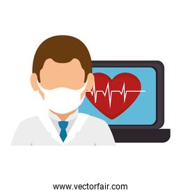medicine online with doctor using face mask and laptop