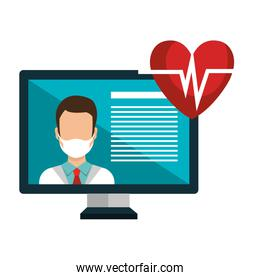 medicine online with doctor male using face mask and computer