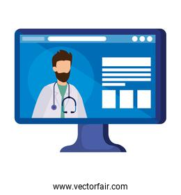 medicine online with doctor male in computer