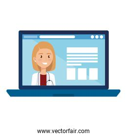 medicine online with doctor female in laptop computer