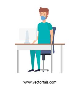male paramedic with face mask in desk