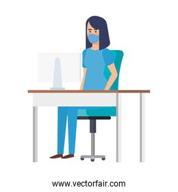 female paramedic with face mask in desk