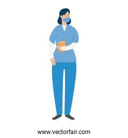 female paramedic with face mask isolated icon