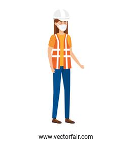 woman worker using face mask isolated icon