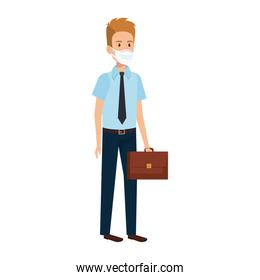 businessman and suitcase with face mask isolated icon