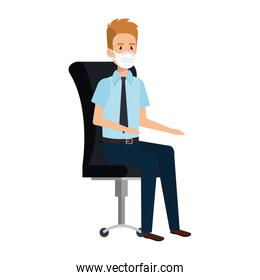 businessman with face mask sitting in chair