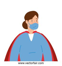 super female paramedic with face mask and hero cloak