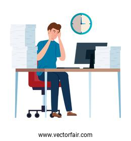 man with stress attack in workplace isolated icon