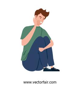 man sitting with stress attack isolated icon