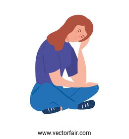 woman sitting with stress attack isolated icon