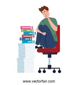 man sitting in chair with stress attack and stack documents