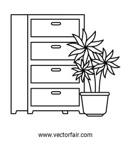 drawer furniture with pot plant isolated icon