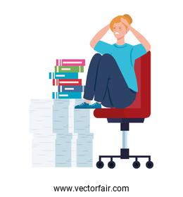 woman sitting in chair with stress attack and stack of documents